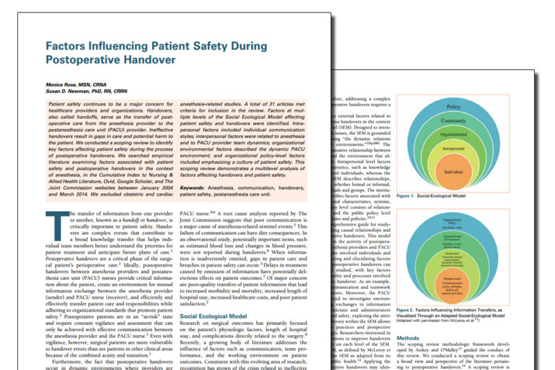 Factors Influencing Patient Safety Lullaby Anesthesia Associates Llc